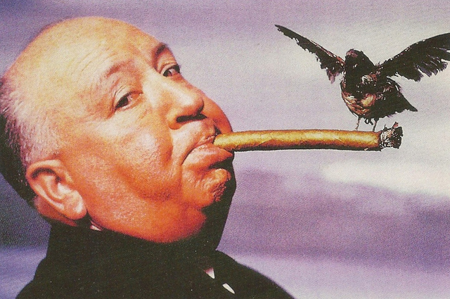 People - Alfred Hitchcock with a Cigar and a Bird