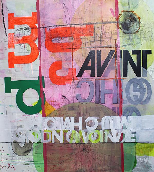 Much More por Guilherme Callegari (2013, Acrílica, óleo, carvão, giz oleoso e grafite sobre tela – 170 x 200 cm)