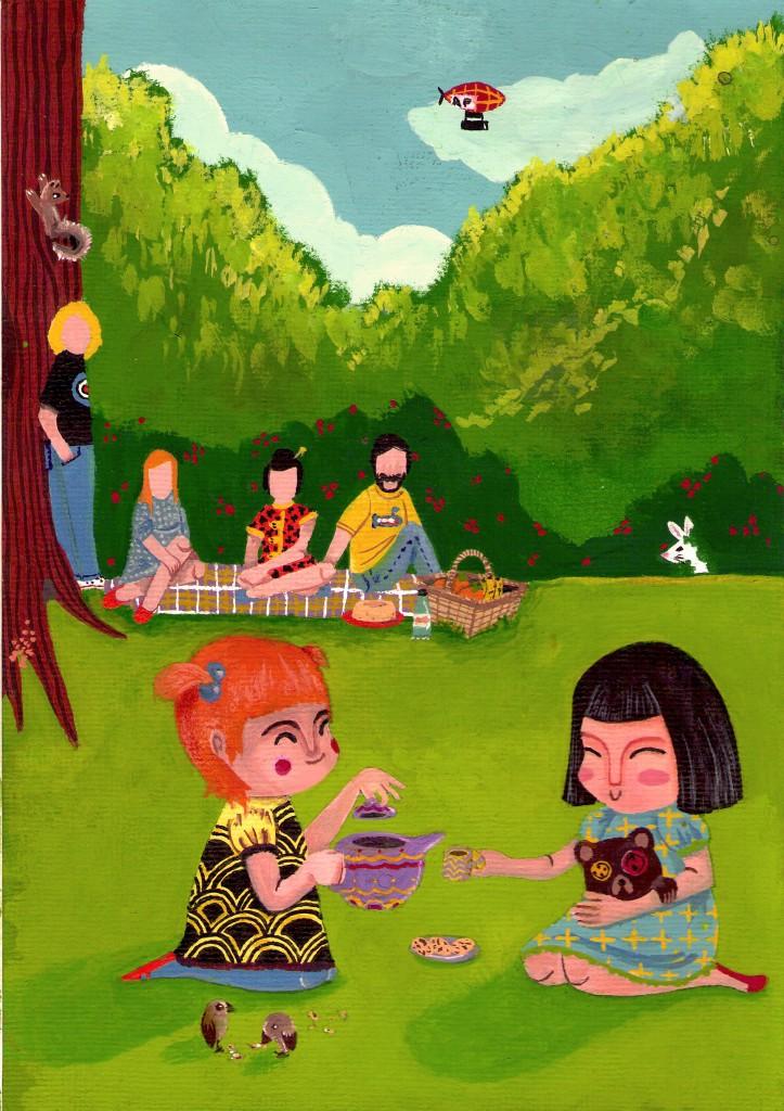 Estudo ilustração infantil em guache