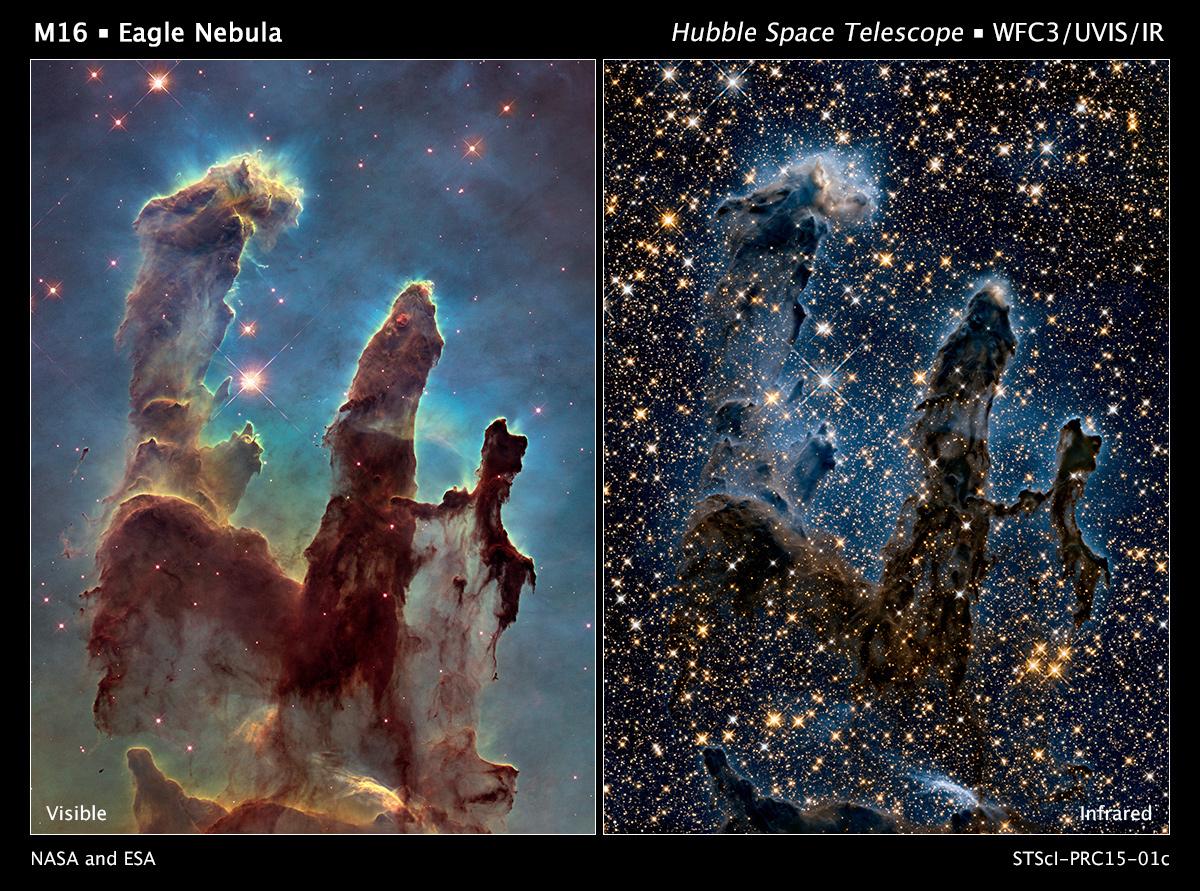 """Uma imagem com maior definição dos chamados """"Pilares da Criação"""", divulgada em 2015 em homenagem à imagem original de 1995. (Hubble/Nasa)."""