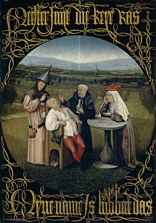 A extração da pedra da loucura por Hieronymus Bosch (pintado entre 1475 e 1480)