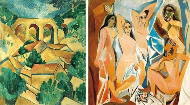 À esquerda, Viaduto de Estaque (1928), de Georges Braque; à direita Les Demoiselles d'Avignon, de Pablo Picasso