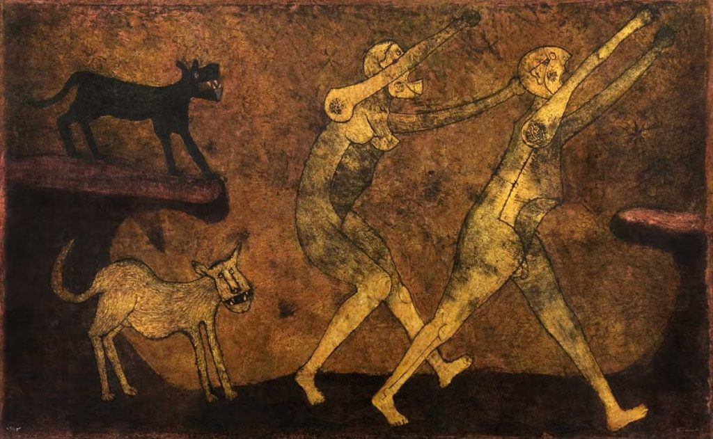 Dos personajes atacados por perros - Rufino Tamayo